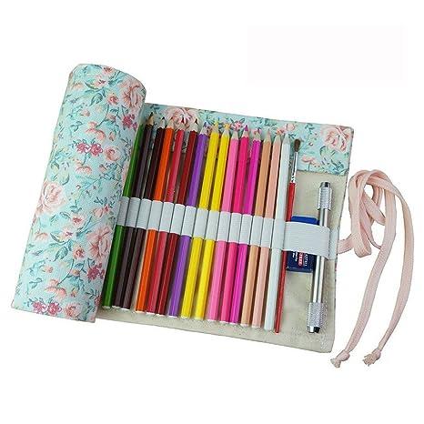 Estuche enrollable de tela Fablcrew, para lápices y otros usos, 36, 48 o 72 agujeros 95*21cm 72 Holes