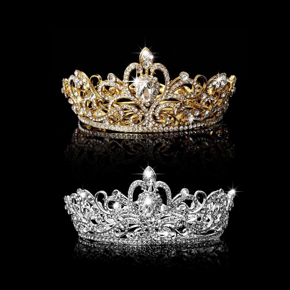 SimpleLife Vintage Strass Diamante Couronne De Mariage pour Princesse Tiara Accessoires De Cheveux De Mari/ée Coiffure Bijoux