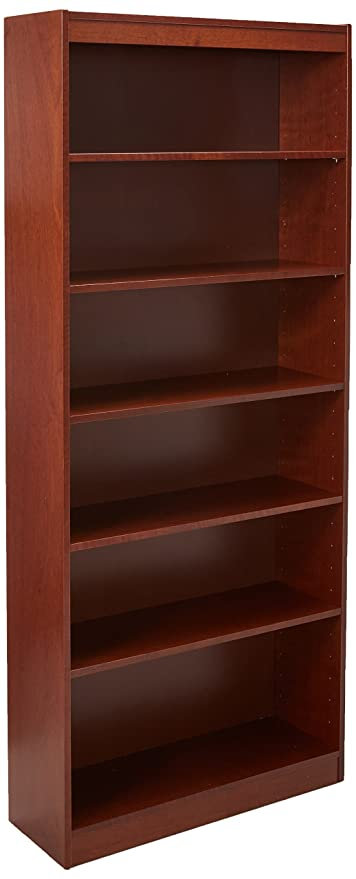 Lorell 7 Shelf Panel Bookcase 36 By 12 84 Inch Cherry