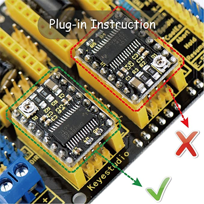 KEYESTUDIO CNC DIY Kit-Development Board for Arduino UNO R3+GRBL CNC Shield  V3+4pcs DRV8825 Stepper Motor Driver+USB Cable