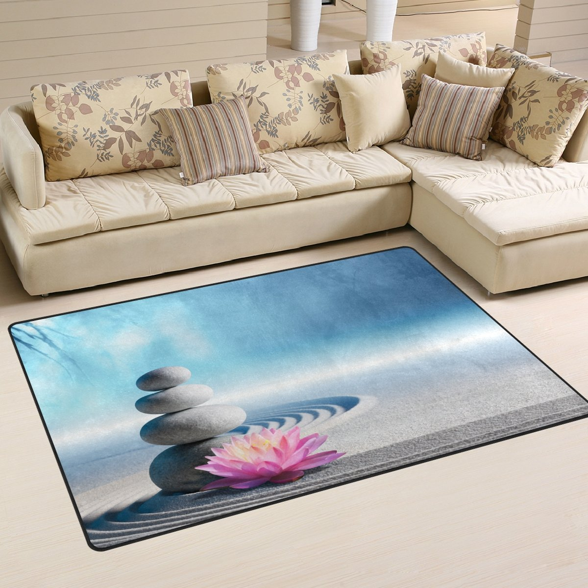 WellLee Area Rug,Sand Lily Spa Stones Zen Garden Floor Rug Non-slip Doormat for Living Dining Dorm Room Bedroom Decor 31x20 Inch