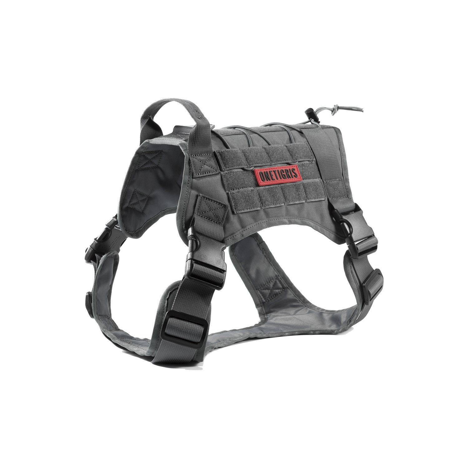 OneTigris Tactical Service Dog Vest – Water-Resistant Comfortable Military Patrol K9 Dog Harness with Handle (Extra Large, Grey)