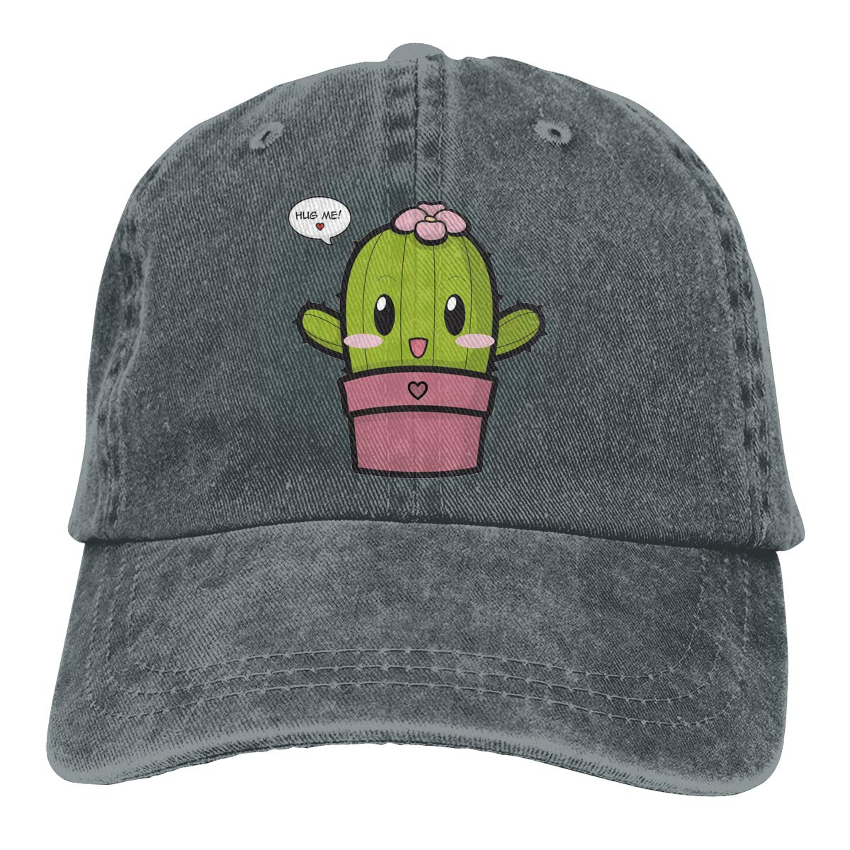 Qbeir Adult Unisex Cowboy Cap Adjustable Hat Hug Me Cactus Cotton Denim