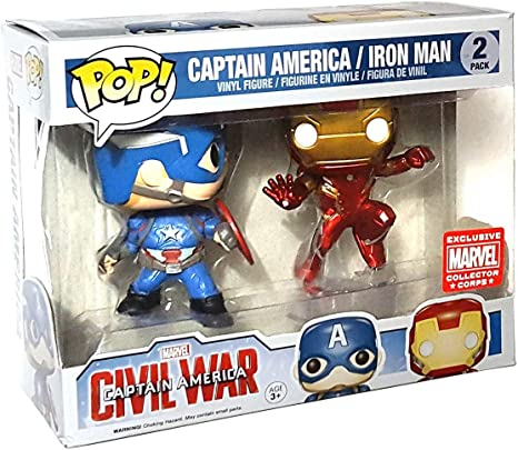 FunkoPop! Marvel: Civil War - Captain America vs. Iron Man Collectors Corps 2 Pack Vinyl Figure …: Amazon.es: Juguetes y juegos