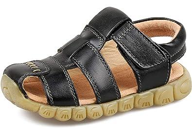 cbef38f45e8b8f Saldgoiz Garçon Fille Sandales et Nu-Pieds en Cuir Enfant Sandales Bout  Fermé Bébé Chaussure