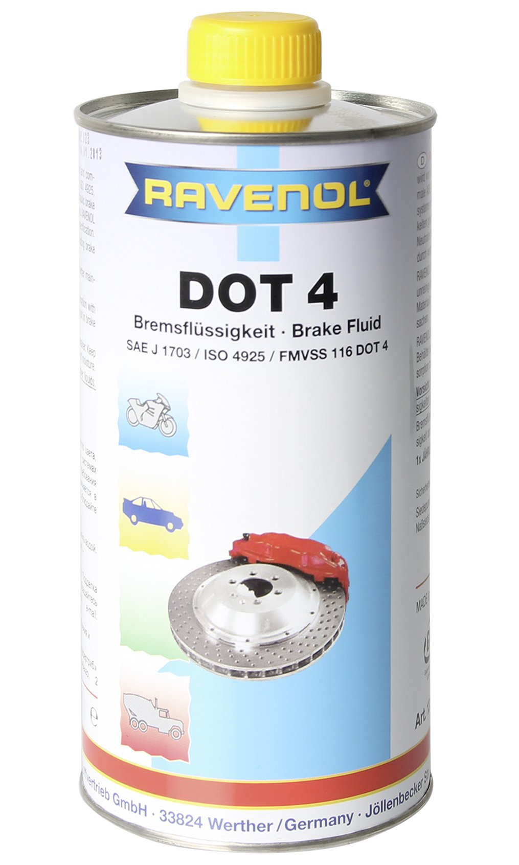 Ravenol J3A1012 Brake Fluid - DOT 4 SAE J1704 (1 Liter) by Ravenol