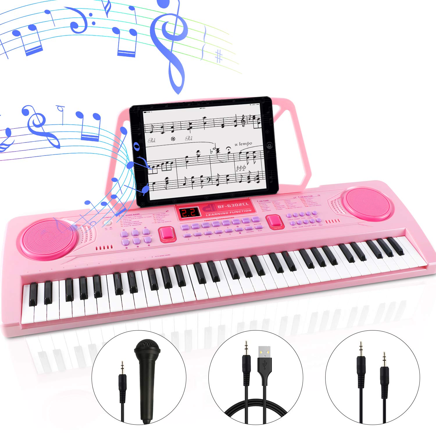 WOSTOO Electric Keyboard Piano for Kids-Portable 61 Key Electronic Musical Karaoke Keyboard, Learning Keyboard for Children w/Drum Pad, Recording, Microphone, Pink by WOSTOO