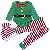 Infantil Disfraz Navidad Fossen Recien Nacido Niña Niño Bebe Monos Tops y Pantalones de Raya + Sombrero