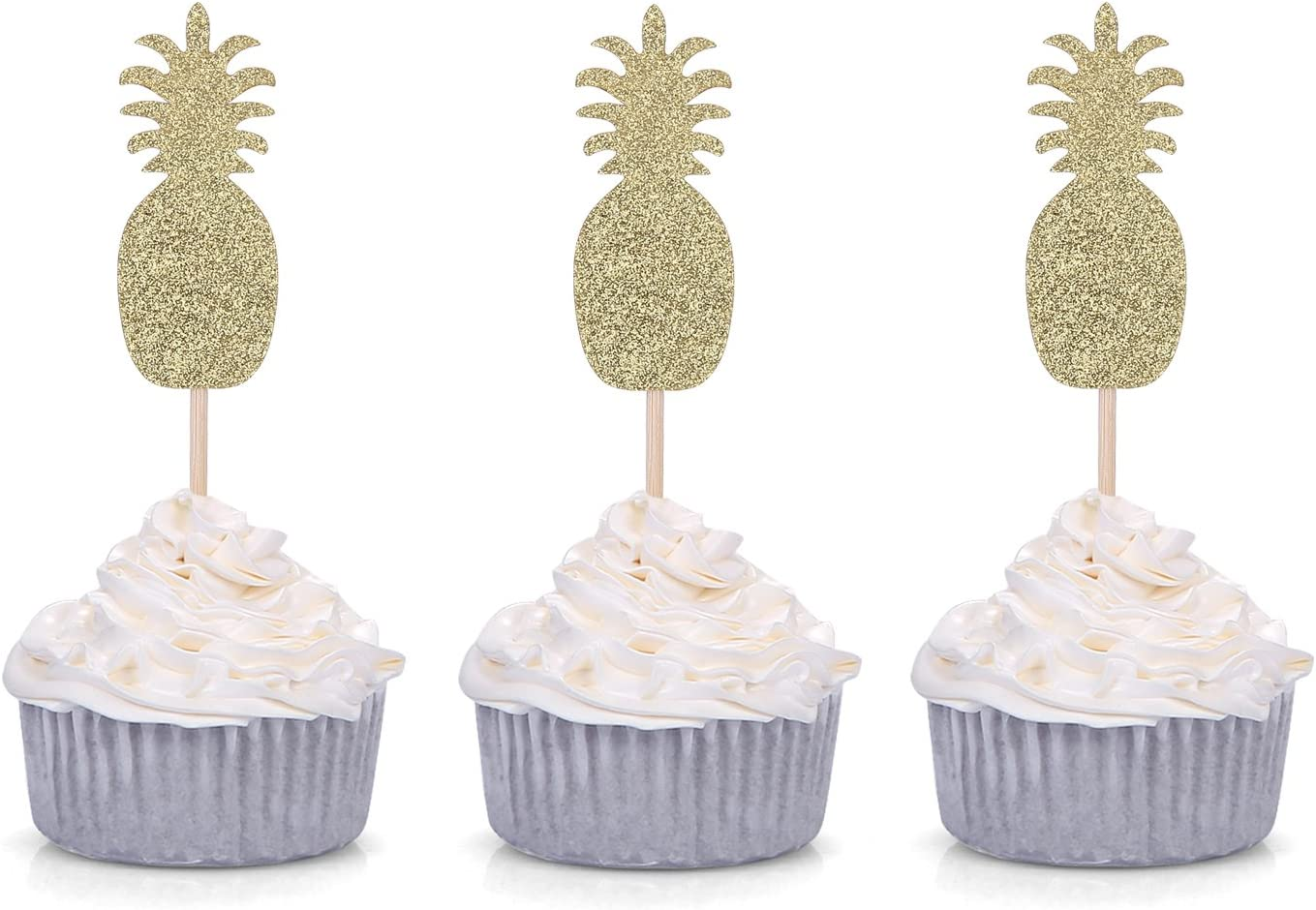 24 Pack Golden Pineapple Cupcake Toppers Tropical Summer Hawaii Party Decors - by Giuffi