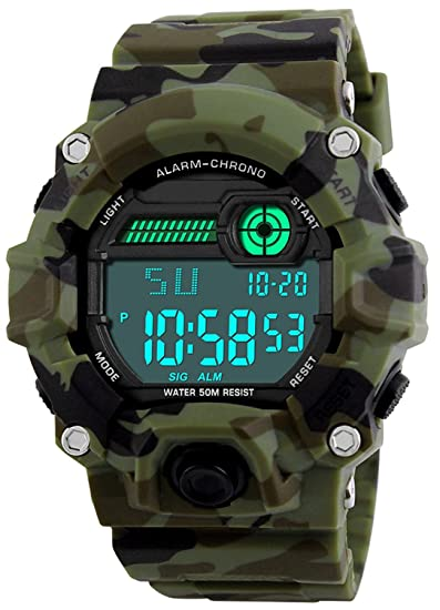 623292116 Amazon.com: Kids Military Digital Watch with Timer - Waterproof Sports Watch  Army Alarm Wrist Watches for Boys SEEWTA: Watches