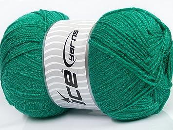 250 gr ICE YARNS GRANDE LANA (70% Superwash Virgin Wool) Yarn Emerald Green