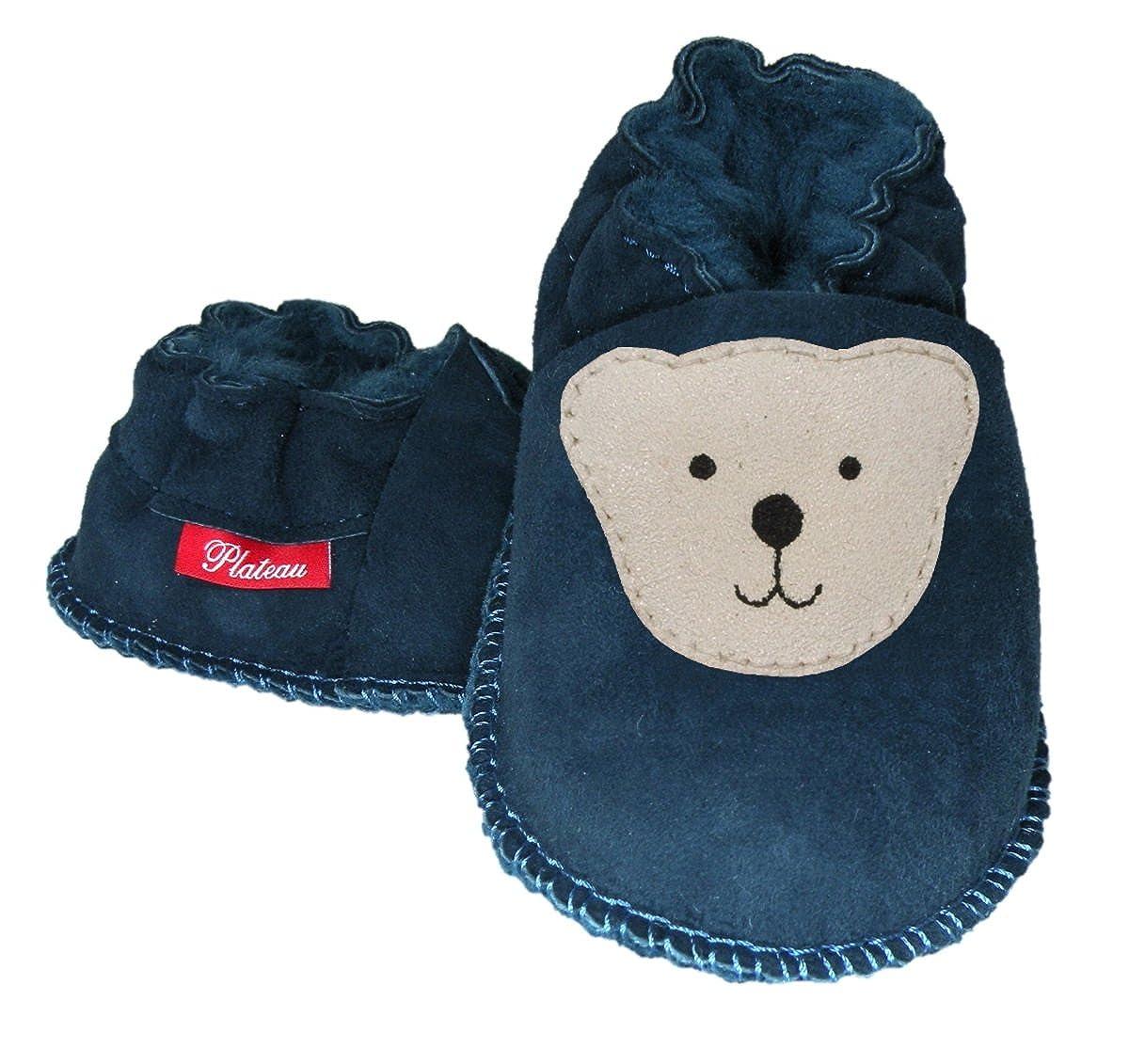 Plateau Tibet - Chaussons bébé avec doublure en VERITABLE laine d'agneau Bottines Chaussures en cuir souple garçon fille enfant - Ourson Plateau Products
