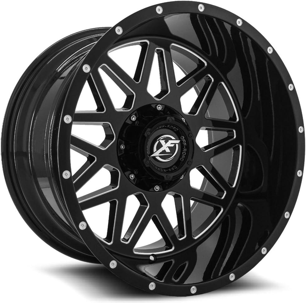 XF OFFROAD XF-211 Gloss Black Milled Wheels 22x12 5x114.3 5x127-44 78.1