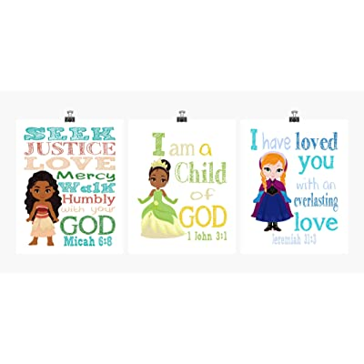 Princess Inspirational Nursery Decor Set of 3 Prints - Ana, Tiana and Moana: Handmade