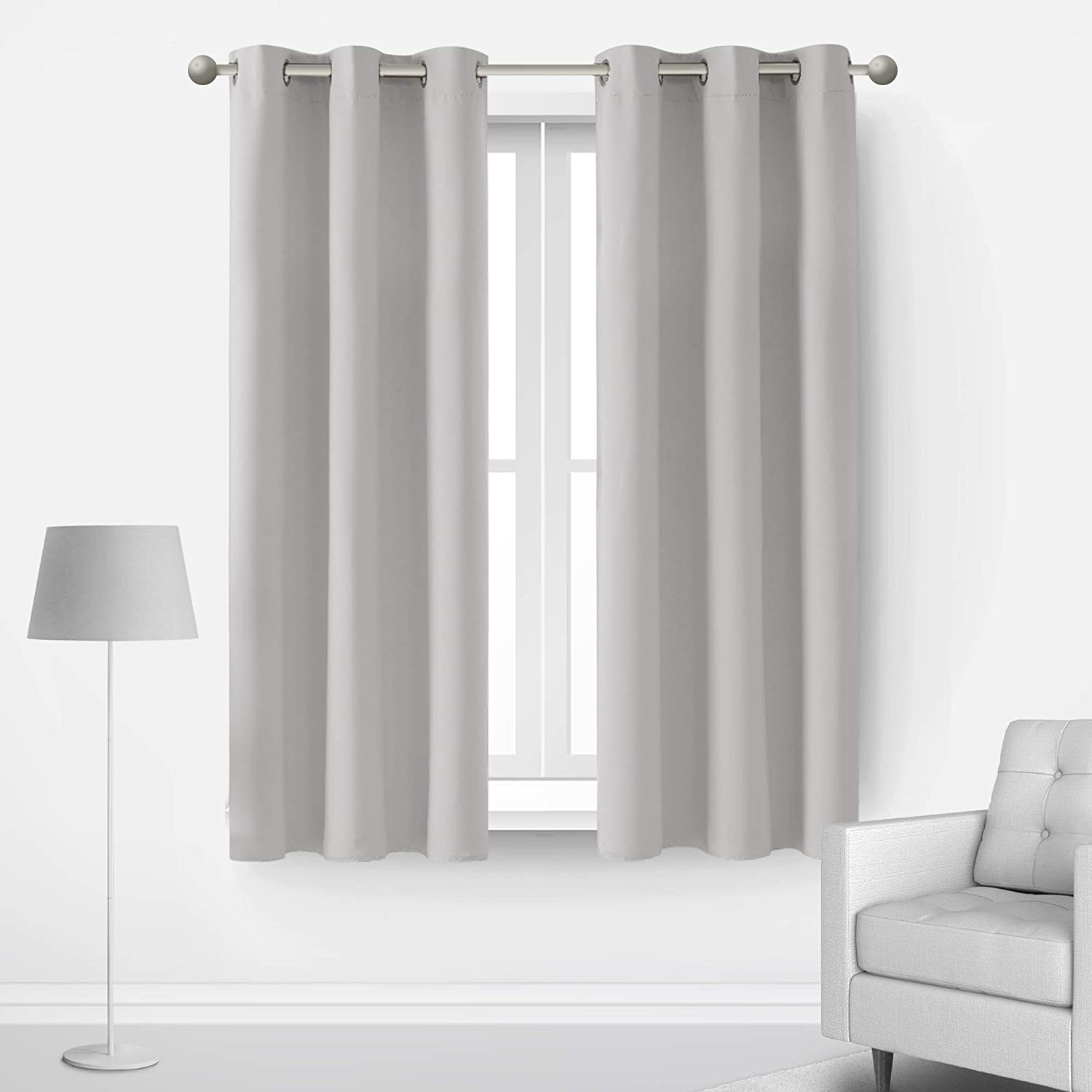 Deconovo Curtains Thermal Insulated Blackout Curtains for Bedroom Sets of 2 Grommet Top Curtains Greyish White 42X63 Inch