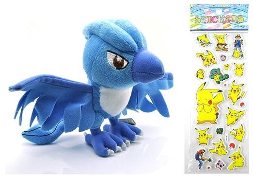 38e923fad Pokemon Plush Toy - Legendary Articuno Plush Doll Around 17cm 6.5 Inch +  Pokemon Sticker (Children One Size, Articuno): Amazon.co.uk: Toys & Games
