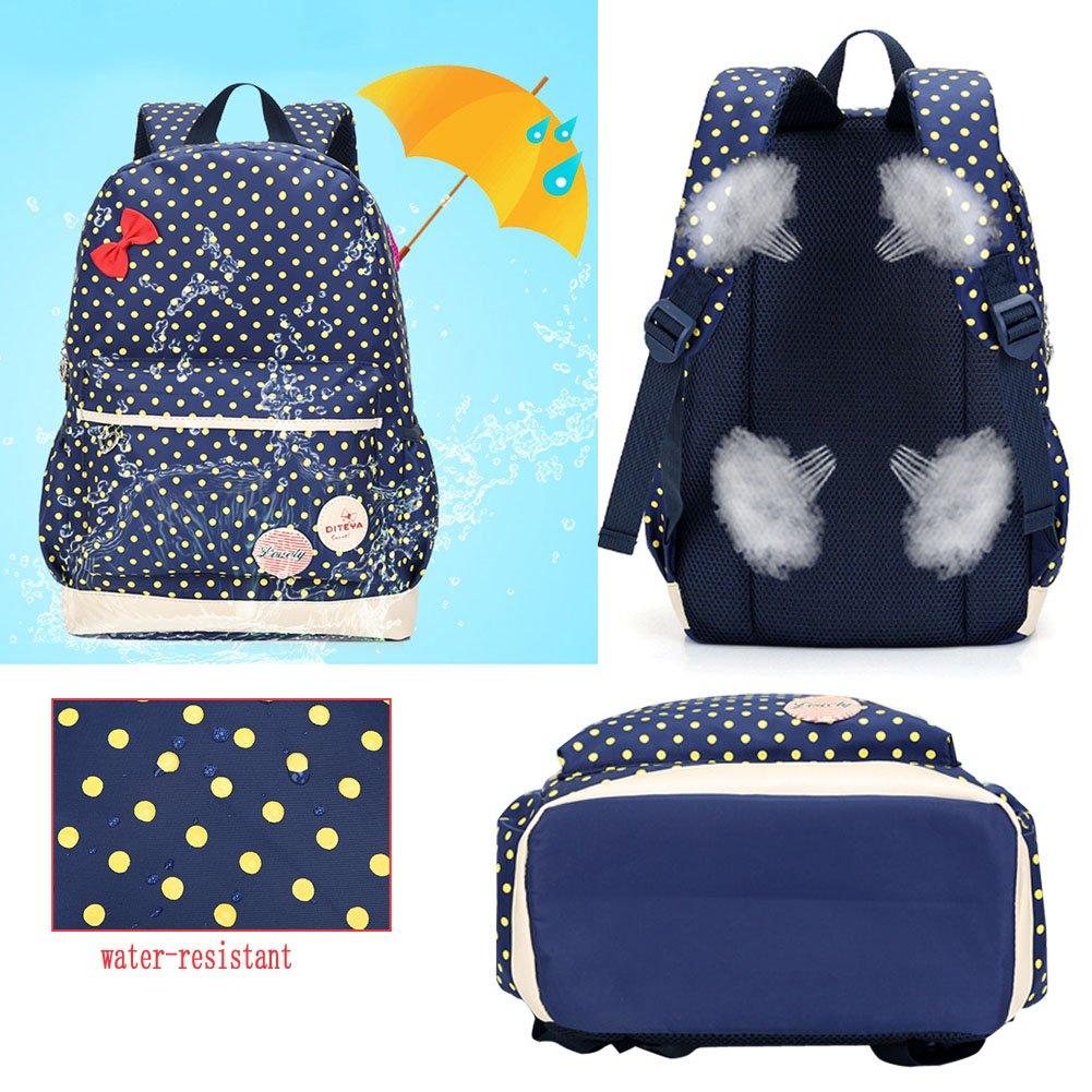 CUILEE Conjunto de 3 Polka Dot Mochilas Escolares/Escolares Bolsas/Mochila niños niñas Adolescentes + Mini Bolso + Bolso Crossbody (Azul Marino): Amazon.es: ...