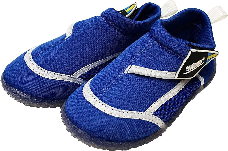 Swimpy® Zapatillas unisex para niños, para la playa, de neopreno y malla, suela de TPR y protección UV 100 %, color azul oscuro