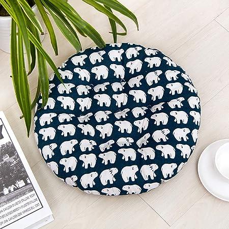 HomeMiYN - Cojines redondos para asiento de jardín, comedor, silla de cocina Tatami, suave y duradera, con lazos para silla, tela, White Bear, 40*40cm (1.3*1.3ft): Amazon.es: Hogar