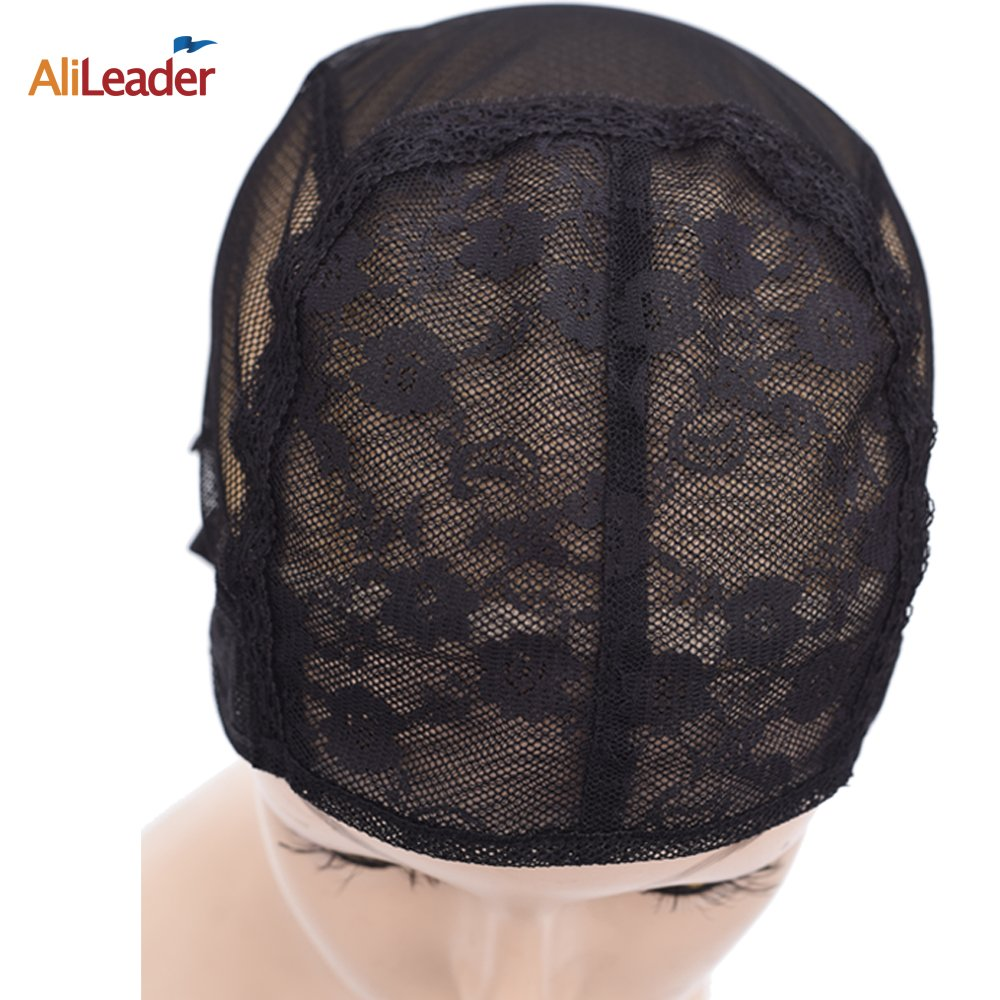 AliLeader Extra Large Black Double Lace Wig Caps For Making Wigs Hair Net with Adjustable Straps Swiss Lace weaving cap LeYiDe