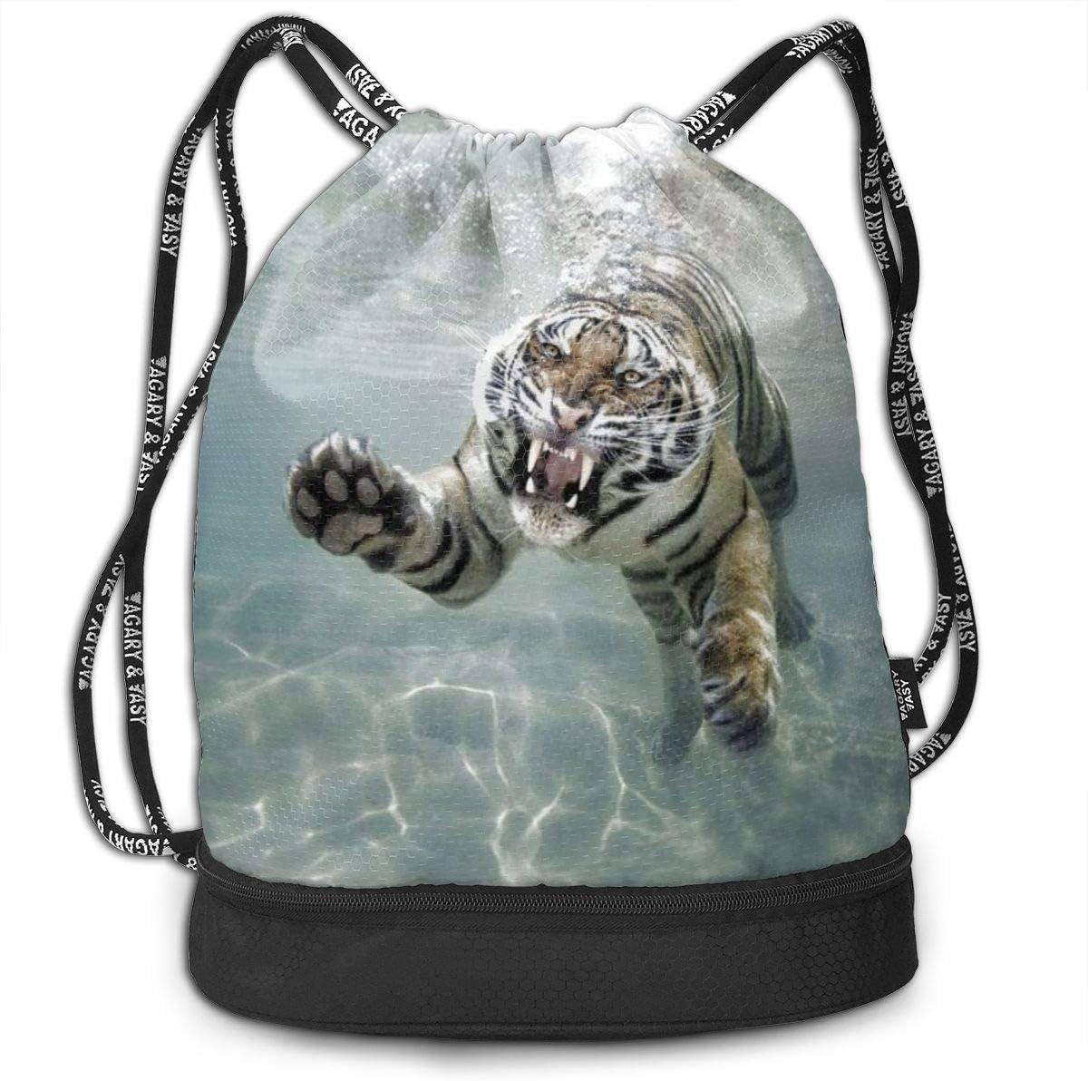 GymSack Drawstring Bag Sackpack Underwater White Tiger Sport Cinch Pack Simple Bundle Pocke Backpack For Men Women