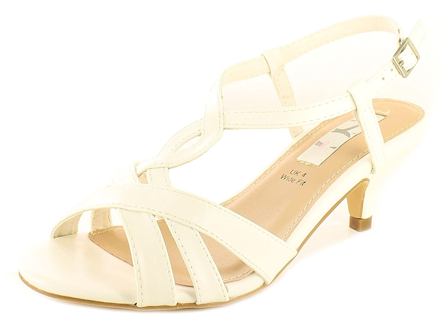 d914f19a0c7 Wynsors Ladies White Strappy Low Heeled Evening Wedding Occasion Sandals -  White - UK Size 8  Amazon.co.uk  Shoes   Bags