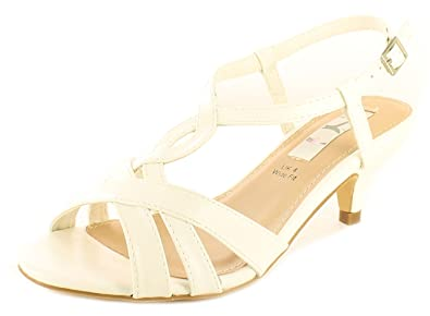2239d046e052 Wynsors Ladies White Strappy Low Heeled Evening Wedding Occasion Sandals -  White - UK