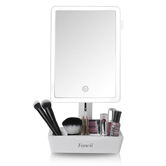Fancii Espejo de Maquillaje con Luz Grande, 1x Aumento con Espejo de Aumento 10x - Espejo Sobremesa Ajustable con Pantalla Táctil, Luz LED Natural, ...