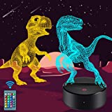 Dinosaur Night Light for Kids-3D Dinosaur Lamp 7 Colors Optical Illusion Touch & Remote Control with 2 Acrylic Flats…