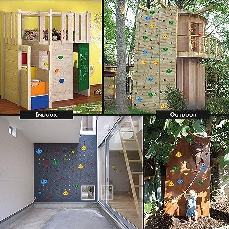 Ejoyous - Juego de agarres para Escalada para niños (Exteriores, con 10 agarres de Escalada, con 20 Tornillos, 4 Unidades, 5 Unidades), Color Verde