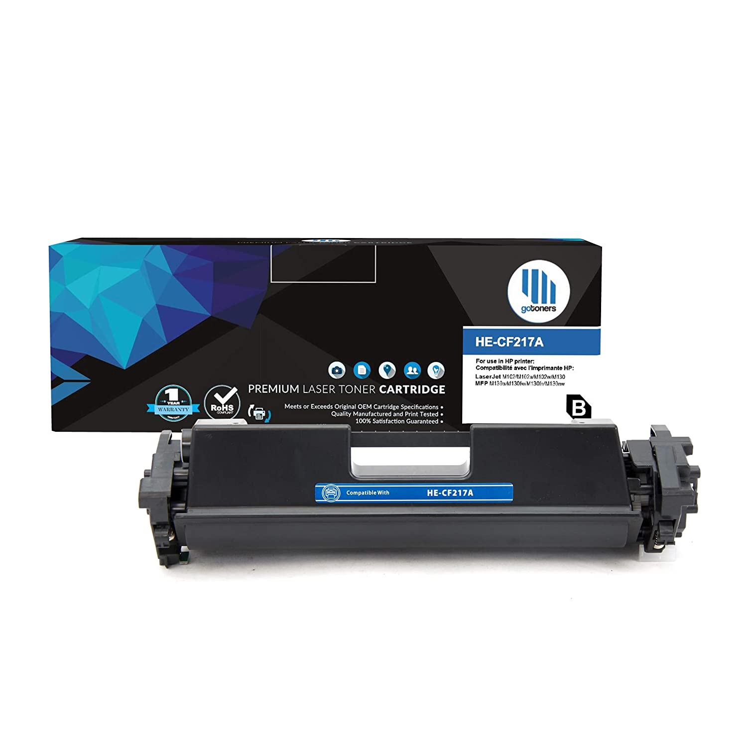 Gotoners™ Compatible Toner Cartridges CF217A/HP 17A Replacement Blcak High Page Yield HP Laserjet Pro M102a M102w MFP M130a M130fw M130nw Image Printer (2 Pack)
