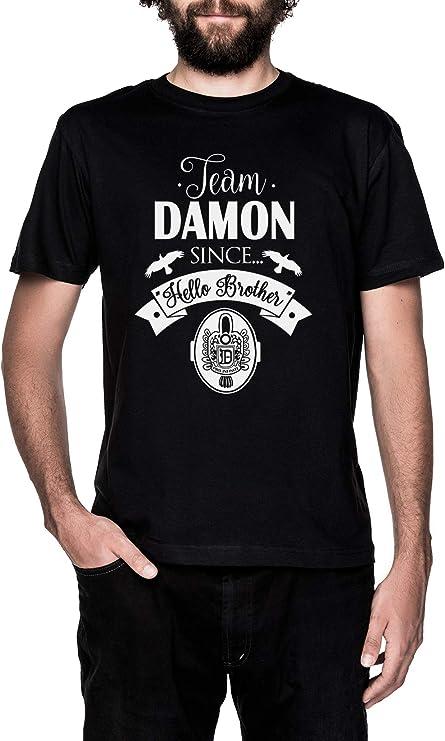 Team Damon Since Hello Brother Negro Camiseta Hombre Manga Corta Black T-Shirt Mens: Amazon.es: Ropa y accesorios