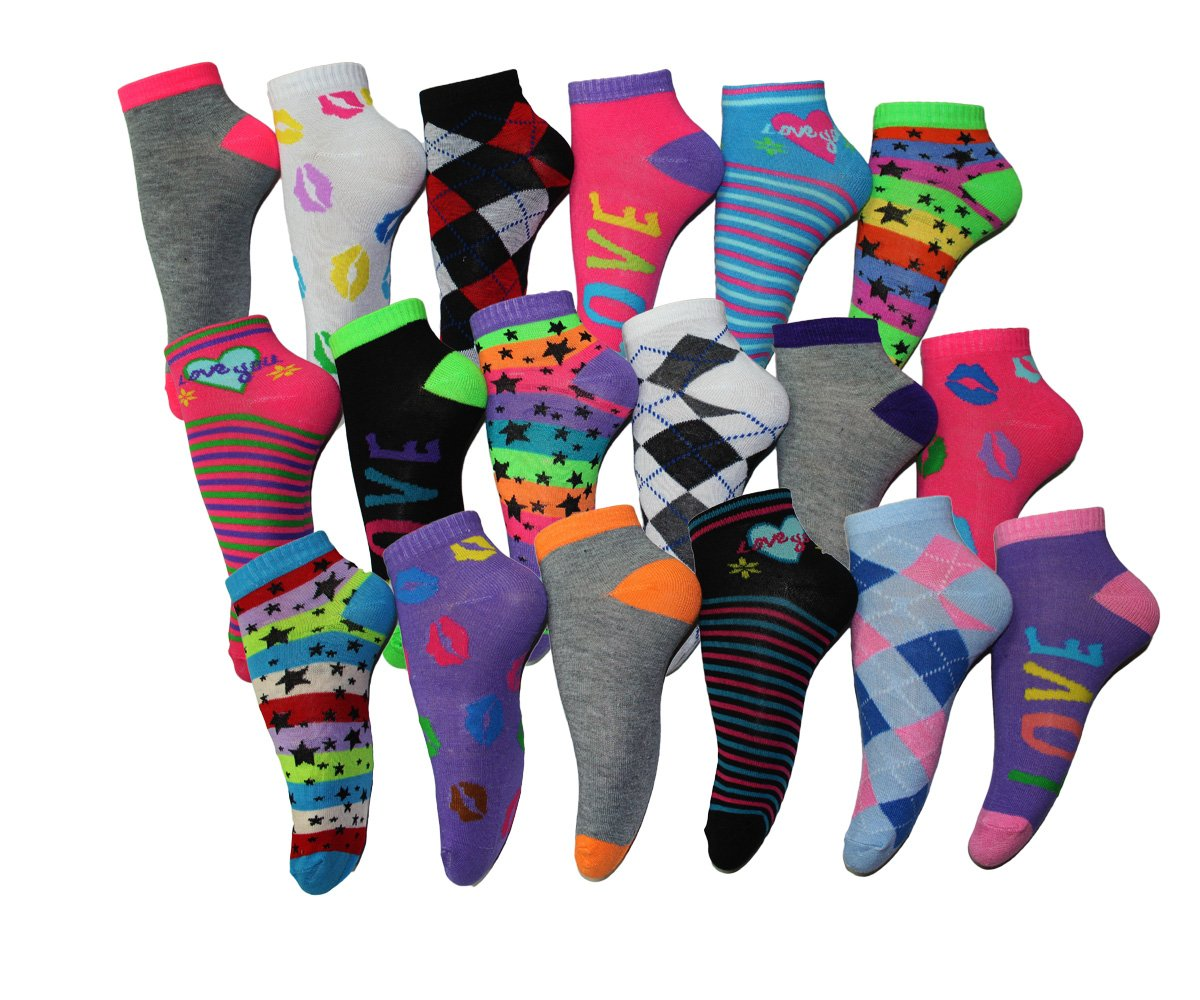Frenchic Womens 18 Pairs Patterned No Show Ankle Socks,  Shoe Size 5-10 (sock size 9-11), Pack23 by Frenchic