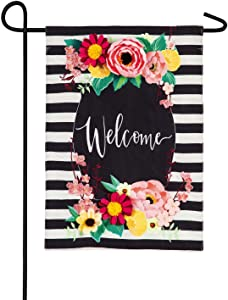 Evergreen Flag Floral Swag Welcome Burlap Garden Flag - 12.5 x 18 Inches Outdoor Decor for Homes and Gardens