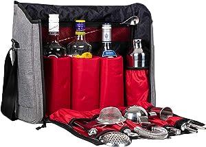 Jillmo Cocktail Shaker Set, 14-Piece Bartender Kit with Waterproof Bartender Travel Bag