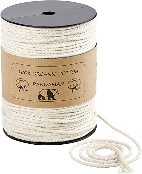 Macrame Cord 4mm x 220 Yards Cotton Cord for Handmade Plant Hanger Wall Hanging Craft Making Wedding Decorations Projects Premium Natural Macrame Rope Knitting