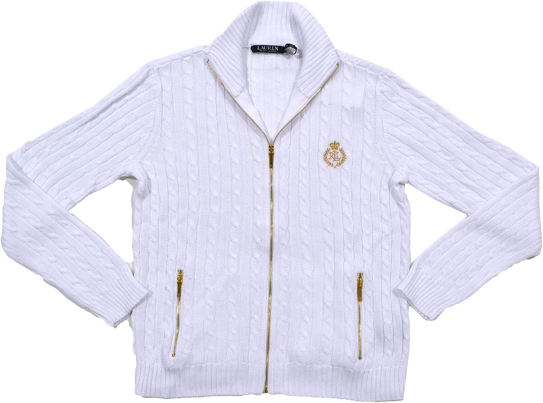 Ralph Lauren Womens Full Zip Cable Knit Crest Sweater (Small, White (Golden Logo))