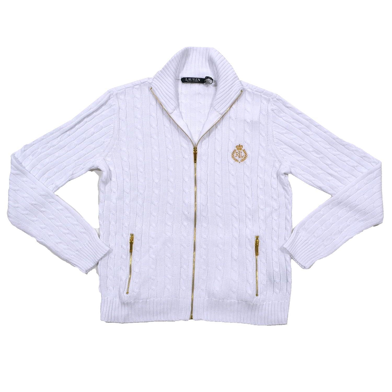 Ralph Lauren Womens Full Zip Cable Knit Crest Sweater