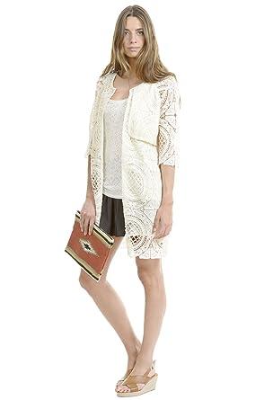 Amichi, Chaqueta larga crochet - Mujer - Blanco - Talla XXXXL: Amazon.es: Ropa y accesorios