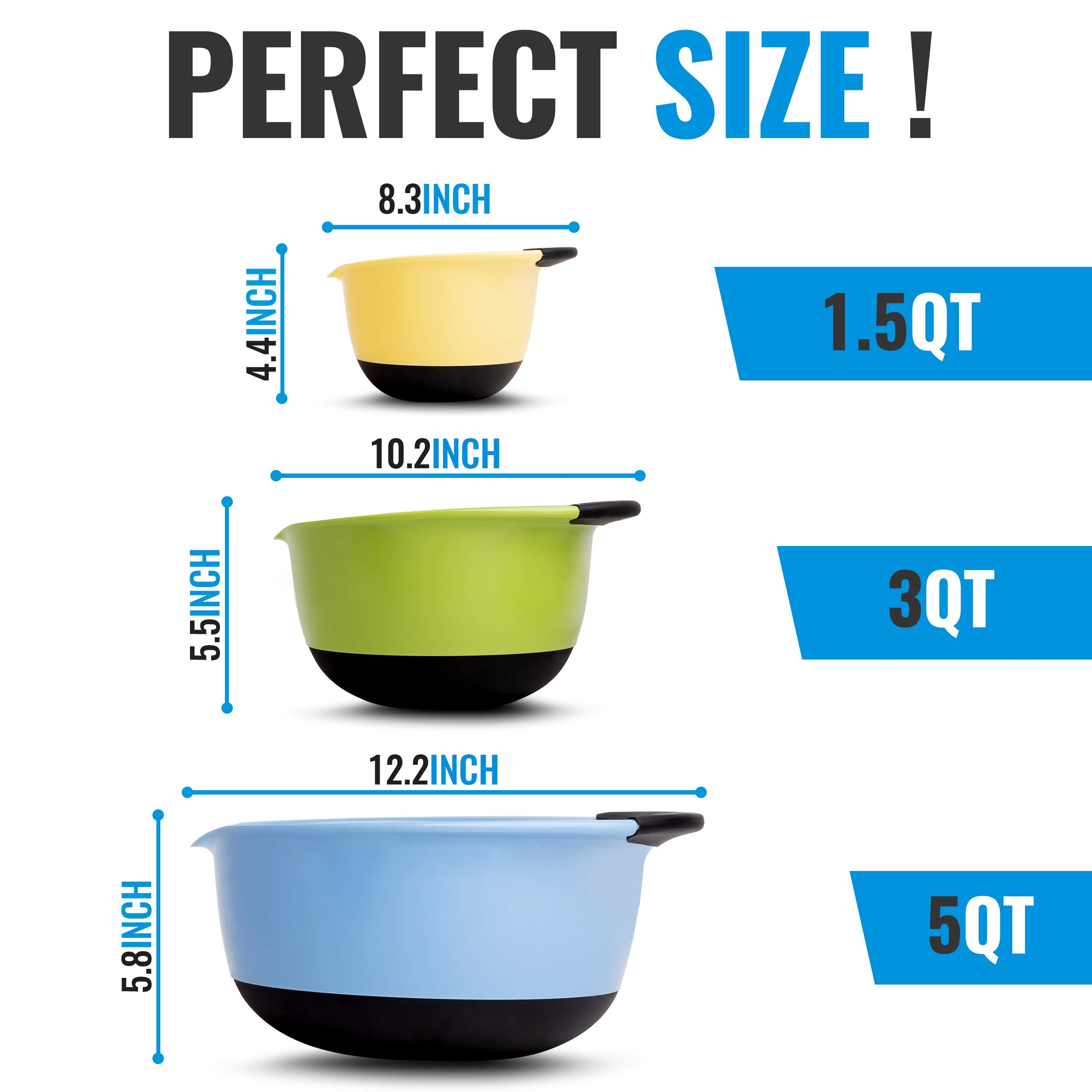 Premium Plastic Mixing Bowls (Set of 3) Sizes: 1.5, 3 & 5 QT - With Non Slip Bottom & Pouring Spout. For Healthy Cooking & Baking, Nesting and Stackable Free Bonus - measuring cup by MONKA (Image #3)