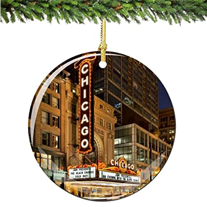 chicago marquee christmas ornament porcelain 275 double sided christmas ornaments - Christmas Decoration Stores Chicago