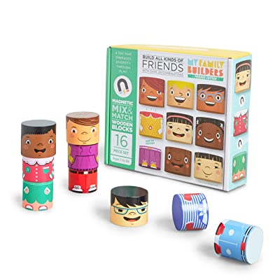 My Family Builders Friends Edition Diversity Building Blocks with Magnets – Build Little People Figures for Cultural Inclusion and Empathy – 16 Piece Wooden Blocks for Multiracial Play Figures: Toys & Games
