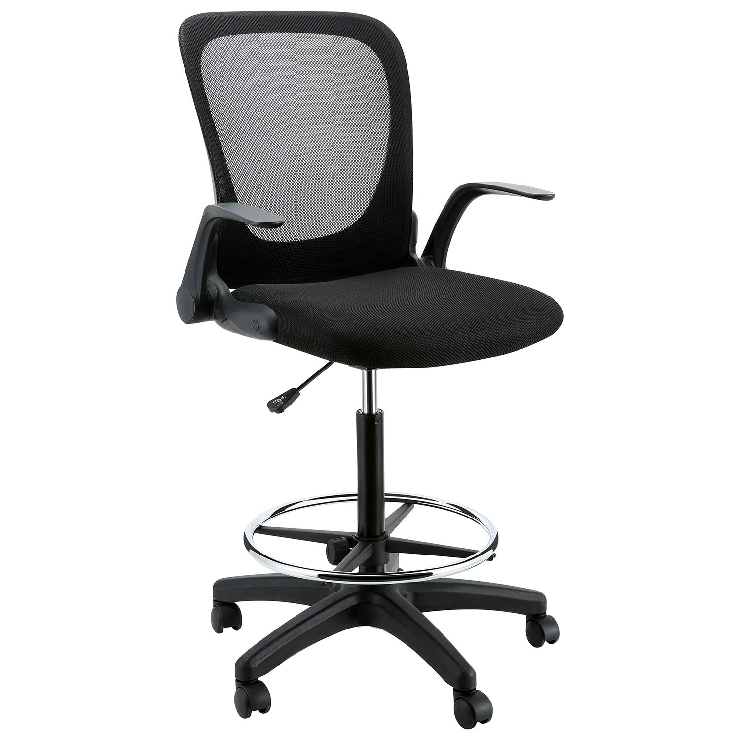 YOUNIS Drafting Chair with Black Fabric Seat, Adjustable Armrest and Foot Ring, Black Breathable mesh backrest, Reception Desk Chair, Tall Office Chair by YOUNIS (Image #7)