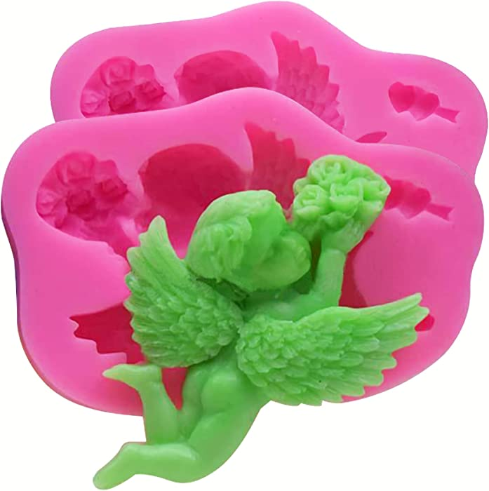 HengKe 2Pcs Cupid Angel Liquid Silicone Molds, Silicone Molds for DIY Sugar Craft, Candy, Fondant, Pudding, Soap, Chocolate, Ice Cube, Cookie,Cake Cupcake Decoration, Polymer Clay, Ice Jewelry