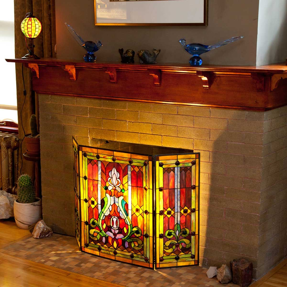 amazon com river of goods fireplace screen stained glass tiffany