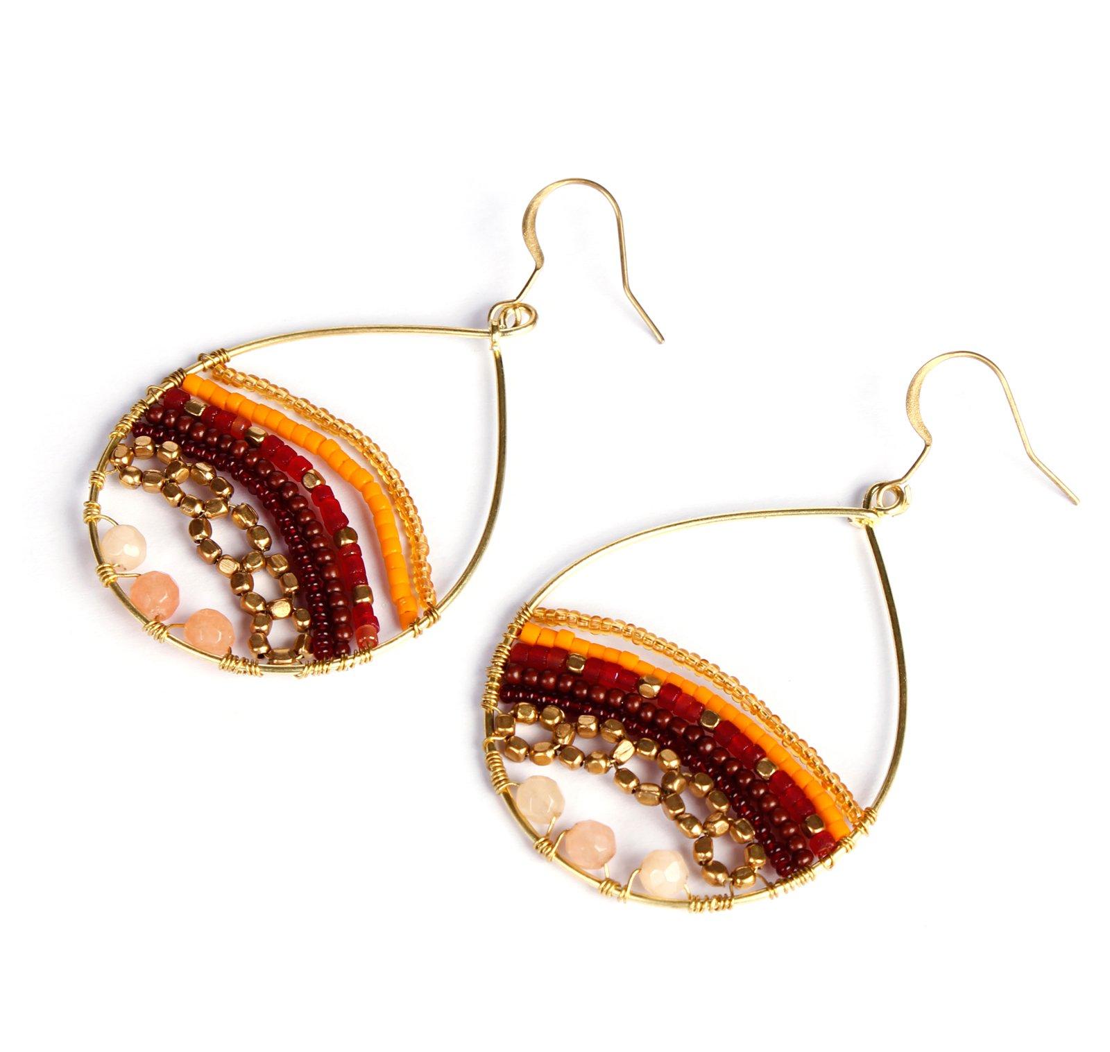Akitai Santa Fe Brown Shades Beaded Art Bohemian Gypsy Jewelry Earrings Fashion Ideas