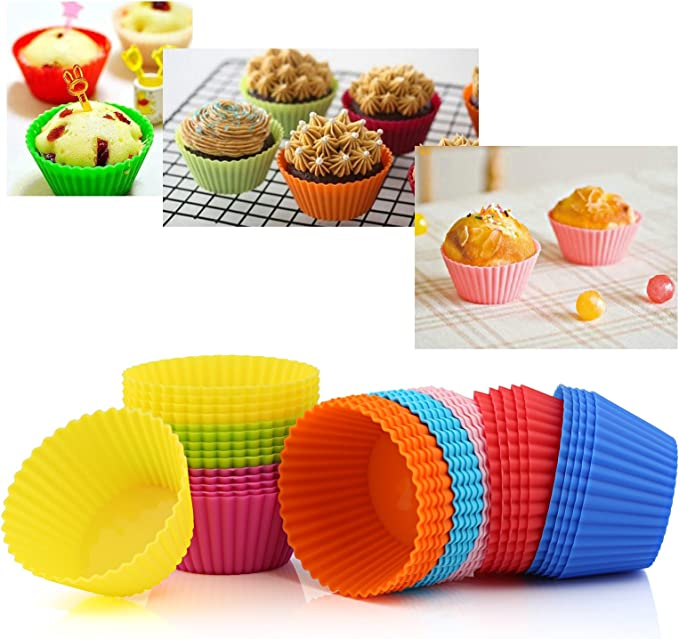 4x Forme Ovale Silicone Muffin cas Cupcake Moule de cuisson réutilisable anti-adherente