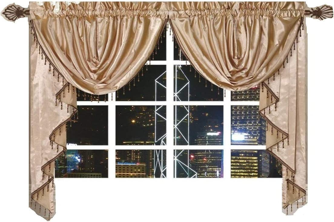 OctoRose Royalty Custom Waterfall Window Valance Swags Tails Gold, Pair of Swags Tails 132×47 wxh