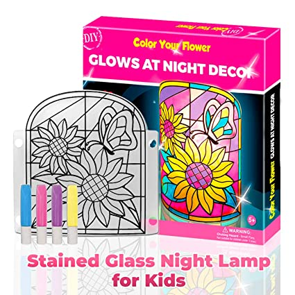 Amazon Com Kids Lamp Diy Kit Make Stained Glass Nightlight With