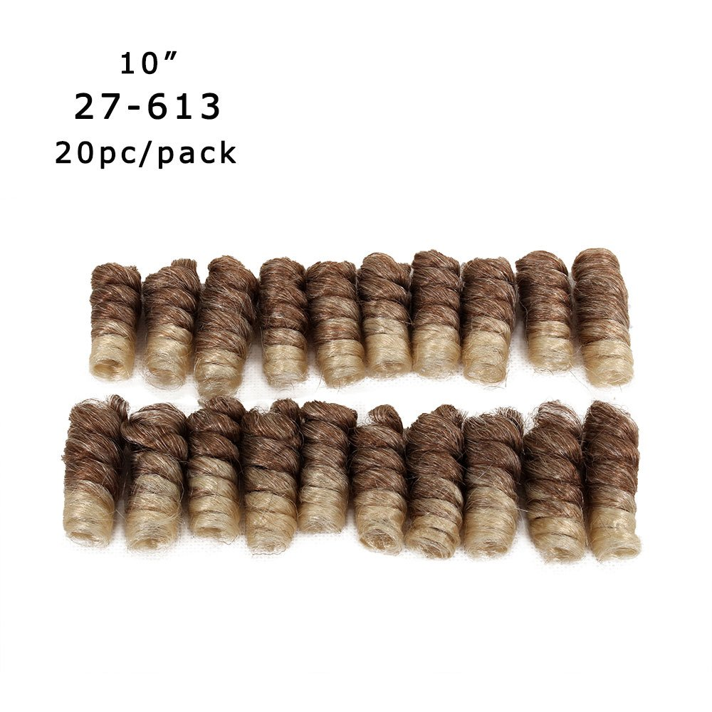 "10""5packs Synthetic Saniya Curls Crochet Braids 20strands/Pack Synthetic Hair Extensions Short Curl Twist Braids Jamaican Bounce Crochet Hair Wand Curl Afro Kinky Braiding Hair (27-613)"
